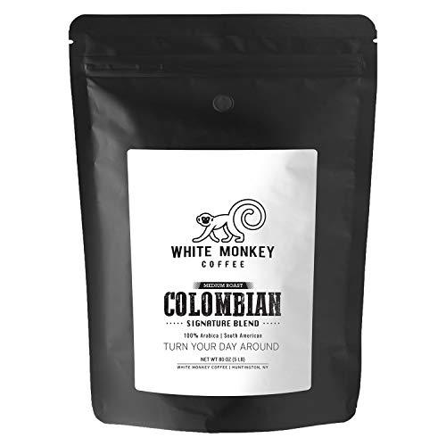 White Monkey 5LB Whole Bean Coffee | Arabica Colombian Excelso Premium Coffee Beans | Medium Roast | Fresh Roasted…