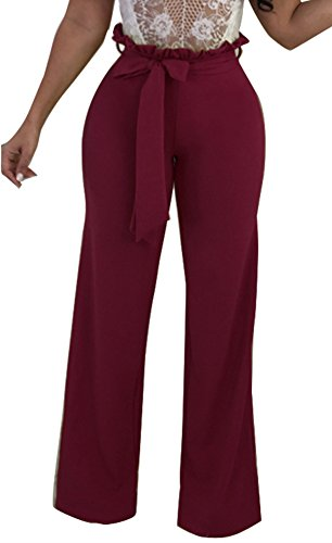 Dreamparis Women's Casual Wide Leg Long Pants Solid Flare Palazzo Pants Trousers