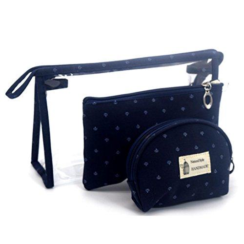 Enjocho Natural Style Handmade Waterproof Cosmetic Translucent Makeup Bag (Navy)