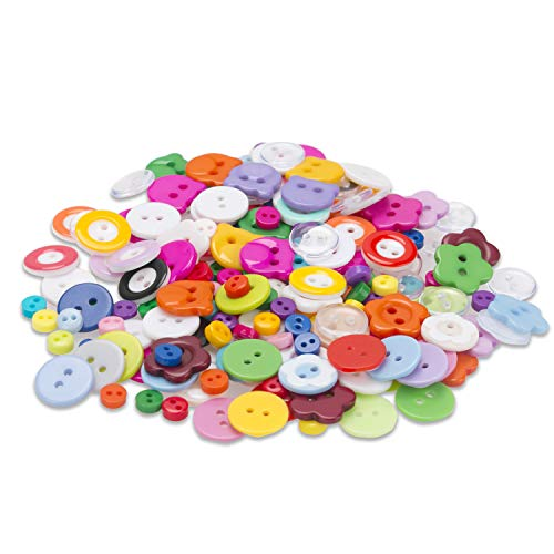 ALLIMITY 220pcs Plastic Resin Color Buttons, 2 Holes Round Craft for Sewing DIY Handmade Creation, Children's Clothing, Home Repair, Clothing Store Spare