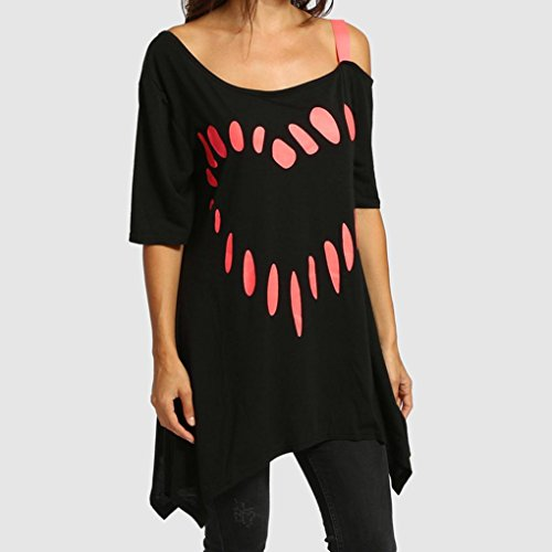 Roze mouwen Shoulder Size blouse Casual Dames Grijs Dames T liefde Rood Off Ohq shirt Zwart Oversized Plus Tops Korte Shirt Print FPTgx1zqn