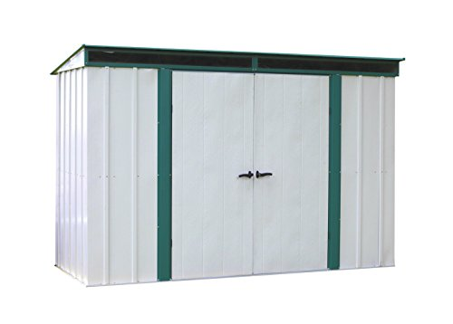 Arrow Euro-Lite Steel Storage Pent Shed, Green/Eggshell, 10 x 4 ft. by Arrow