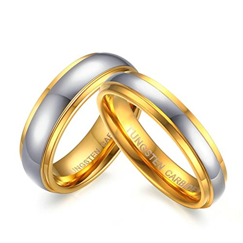 Beydodo 1PCS Tungsten Ring for Men Wediding RingsGold Plated Rings Silver Gold Size 8
