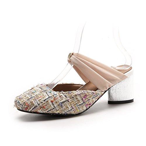 Chaussures Taille épais de Sauvage Flop Sandales Femmes avec Baotou la Flip Mode Beige Grande rwq741r