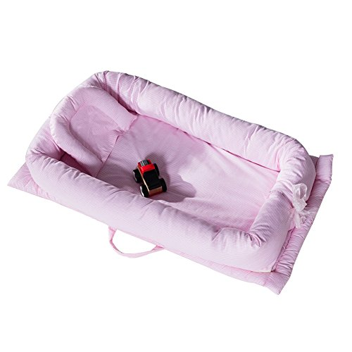 CC Shop Newborn Portable Foldable Crib Multifunctional Nursery Bed Baby Nest for Travel (Pink Stripe) by CC Shop