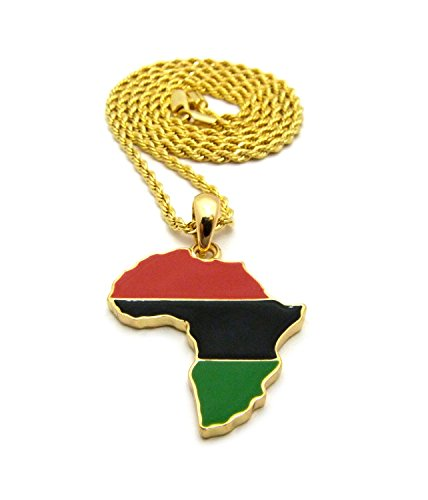 """Crown Pan African Colored Africa Map Pendant 24"""" Necklace - Various Chain Available (Gold w/ 2mm Rope Chain)"""