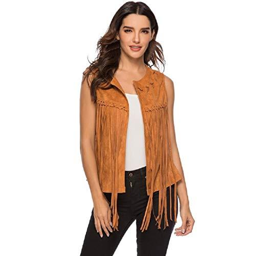 FIRERO Women Fringe Vest Faux Suede Tassels 70s Hippie Clothes Open Front Sleeveless Vest Cardigan Brown