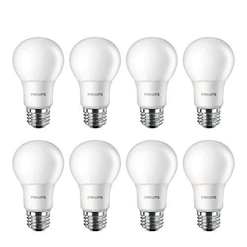 Philips LED Non-Dimmable A19 Frosted Light Bulb: 1500-Lumen, 5000-Kelvin, 14-Watt (100-Watt Equivalent), E26 Medium Screw Base, Daylight, 8-Pack