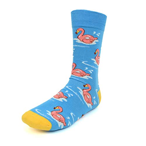 (Urban-Peacock Men's Novelty Fun Crew Socks for Dress or Casual - Multiple Patterns Available! (Flamingos - Blue with Yellow Heel & Toe, 1 Pair))