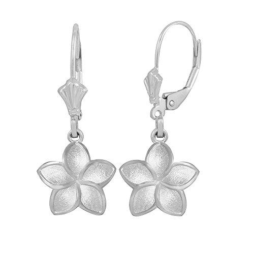 Matte Finish 925 Sterling Silver Hawaiian Flower Plumeria Dangle Earrings (Small)