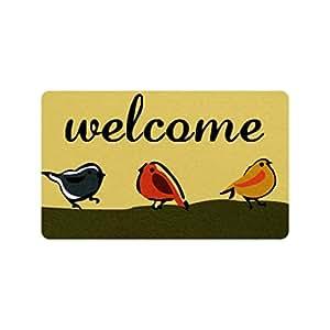 Xinzuo entrada Felpudo Welcome pájaros interior al aire libre Felpudo antideslizante Felpudo 18por 30pulgadas Máquina lavable tela no tejida