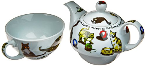 Cardew Cat-Tea Tea Set for One with 16-Ounce Pot and 10-Ounc