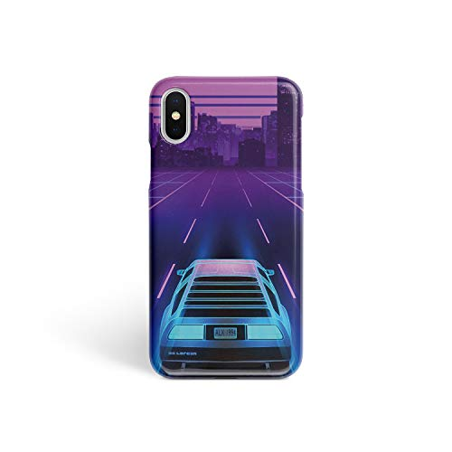 BroStore Full Wrap iPhone Glossy Matte Case Plastic Protective Cover Sublimation Hard Case for iPhone Retro Wave Dark City Neon Car Vintage (Glossy, iPhone 7 8) (Vintage Iphone 4s)