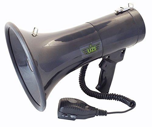 CampCo UZI UZI-MP-50W 50-Watt Megaphone with Siren, Adjustable Volume and Recording Playback, Black