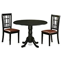 East West Furniture DLNI3-BLK-LC 3 Piece Dining Room Table and 2 Chairs Set