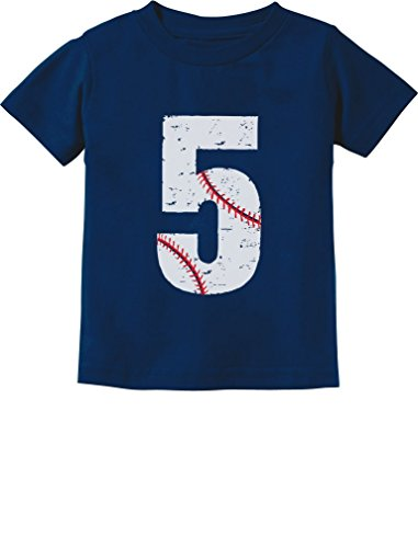 TeeStars - Baseball 5th Birthday Gift for Five Year Old Toddler Kids T-Shirt 5/6 Navy