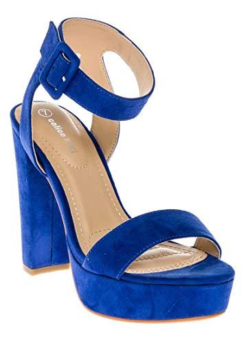 CALICO KIKI Womens Shoes Buckle Ankle Strap Open Toe Chunky High Heel Platform Dress Sandals