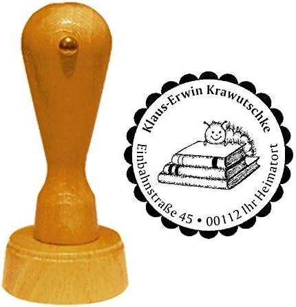 B/ücher Raupe Kinder B/ücherei /Ø 40 mm Stempel Adressstempel /« kleine B/ÜCHERRAUPE /» Durchmesser ca mit pers/önlicher Adresse und Motiv