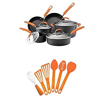 rachael ray hard anodized ii nonstick dishwasher safe 10piece cookware set orange