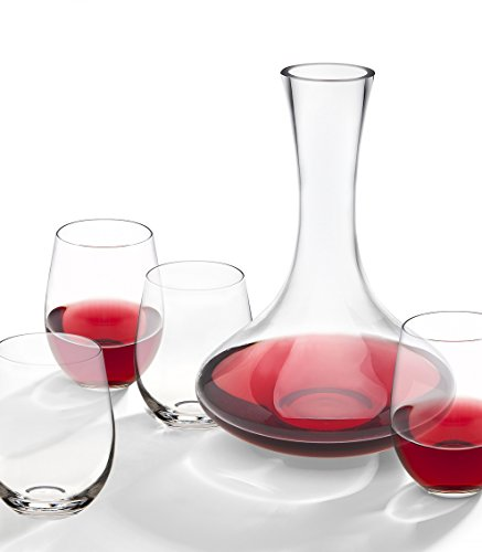 Godinger Social 5 piece Whiskey, Wine Decanter Set, Modern, Simple look, Perfect for social gatherings, 100% Hand Blown Lead-free Crystal Glass, Red Wine Carafe Set, Wine Gift, Wine Accessories