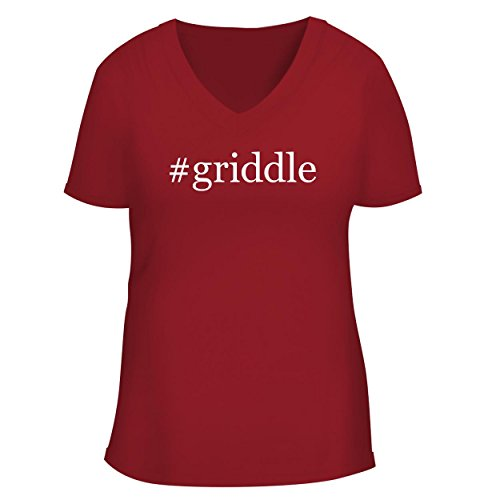 BH Cool Designs #Griddle - Cute Women's V Neck Graphic Tee, Red, ()