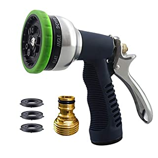 Garden Hose Nozzle – Heavy Duty Metal Spray ,9 Adjustable Patterns,Grip Trigger Settings, Adjustable Flow Control Knob ,for Watering Plants,Lawn,Washing Cars ,Showering Pets