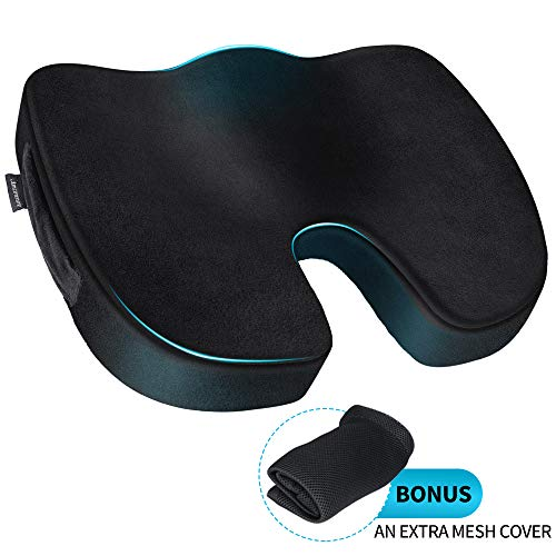 Amconsure Memory Foam Seat Cushion,Comfort Cooling Gel Orthopedic Seat Cushion for Sciatica/Coccyx/Tailbone Pain Relief,Non-Slip Chair Pad for Support in Office Desk Chair/Car/Wheelchair/Airplane