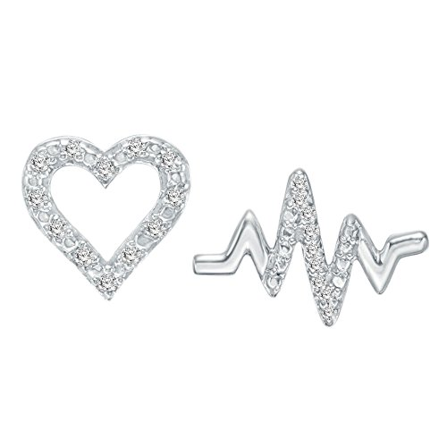 OMEGA JEWELLERY 14K White Gold Plated Silver Round Diamond Heart Misnatched Stud Earrings (0.10 ()
