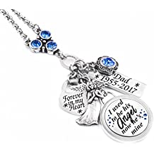 Personalized Engraved Memorial Necklace with Quote and Birthstone in Stainless Steel