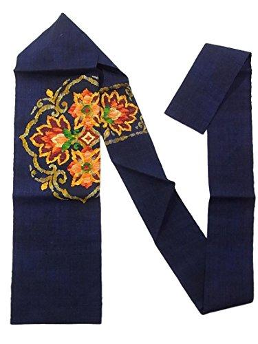 レモン団結スローリサイクル 名古屋帯 紬 八寸 藍色 唐花文 正絹