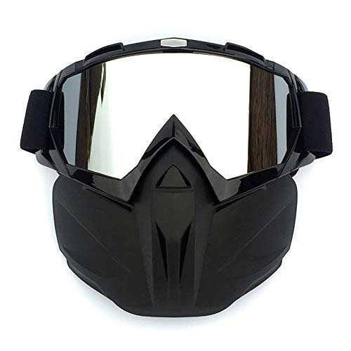 (Motorcycle Goggles with Detachable Mask Anti-Fog Windproof Motocross Face Mask Adjustable Non-slip Strap)