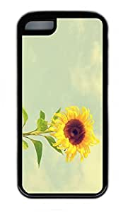 iPhone 5C Case, Personalized Protective Rubber Soft TPU Black Edge Case for iphone 5C - Sunflower 15 Cover
