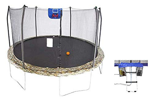 Skywalker Trampolines 15-Feet Jump N' Dunk Trampoline with Safety Enclosure, Basketball Hoop, and Wide Step Ladder Accessory Kit