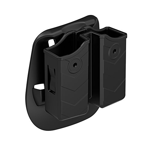 TEGE Universal Double Magazine Paddle Pouch, Polymer Double Stack Mag Holder Fits Glock Ruger Sig Sauer Springfield Beretta Taurus Colt Smith & Wesson Most Pistol Magazines, Black (Double Case Universal Mag)
