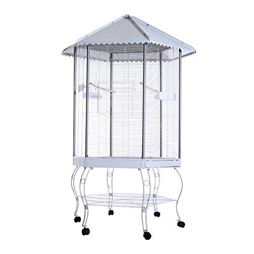 Pawhut 44''L Hexagonal Aviary Bird Flight Cage - Gray/White by PawHut