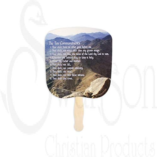Swanson Christian Parlor and Church Hand Fan - Traditional Style - Ten Commandments (KJV) - (50 Count) by Swanson Christian