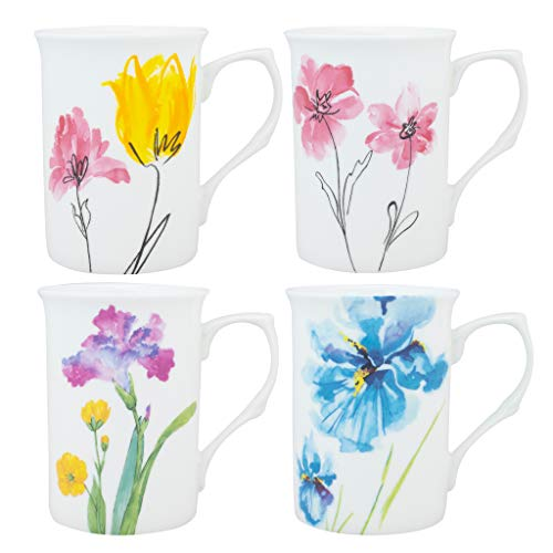 Gracie Bone China Watercolors 9-Ounce Mug, Set of ()
