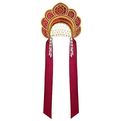 danila-souvenirs Russian Traditional Folk Costume Headdress Kokoshnik Elena Burgundy #295
