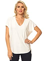 Alisha.D Travel Wear Trendy Chic V-Neck Short Sleeve Dolman Tee Top Summer Colors!