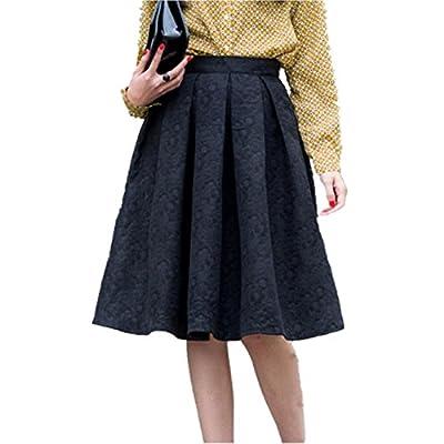 Amakuli Women's High Waisted Jacquard A Line Street Skirt Skater Pleated Full Midi Skirt Oversized