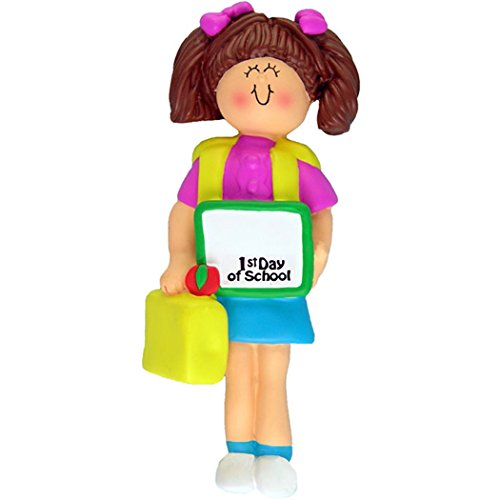 Personalized School (Personalized First Day of School Christmas Ornament for Tree 2018 - Brunette Girl Lunch Box Kindergarten Kid Bag Momentous Occasion - 1st Elementary Daycare Student Free Customization by Elves (Brown))