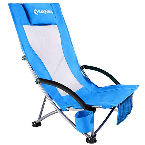 KingCamp Low Sling Beach Camping Concert Folding Chair with Mesh Back (Blue-High Back)