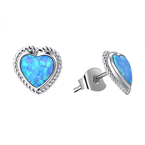Fancime Sterling Silver Blue Created Opal Stud Earrings Dainty Gold Plated Heart Earrings for Women Girls