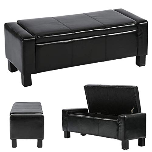 Ottoman Storage Ottoman Bench Bedroom Bench with Faux Leather Rectangular Large 42