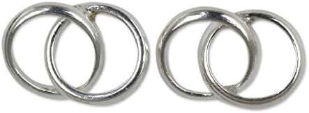 NOVICA .925 Sterling Silver Button Earrings 'Lifelong Love'