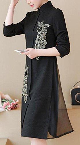 Jaycargogo Femmes Recio Col Style Chinois Debout Robe Ajustement Lâche Noir