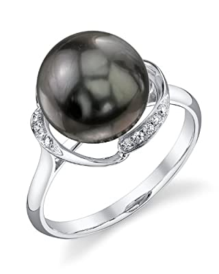 10mm Tahitian South Sea Cultured Pearl & Diamond Ruby Ring in 14K Gold from The Pearl Source
