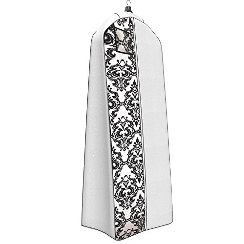 "Ladies Garment - Women's Dress and Gown Garment Bag - 72""x24"" - 20"" Tapered Gusset, Black and White Damask"