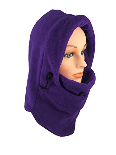 Women's Fleece Balaclava Hooded Face Mask Neck Warmer Ski Hood Snowboard Mask Wind Protector (Purple)