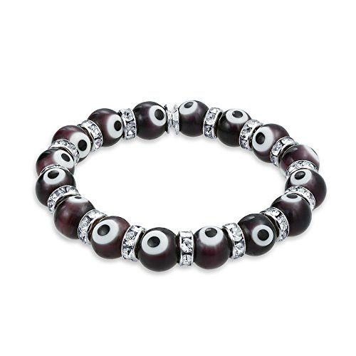 - Bling Jewelry Turkish Black White Evil Eye Glass Bead Stretch Bracelet for Women Rondelle Crystal Spacers for Protection and Good Luck